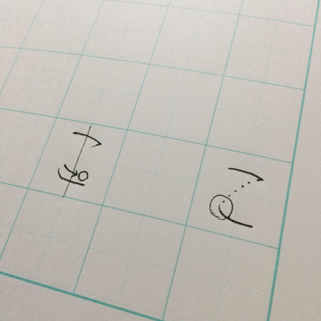 例えば「こ」の字。小学校低学年の子には「最後の止めは、ボールが止まるように。」(左図)中学年の子には「1画目から2画目の入りがつながるように」(右図)